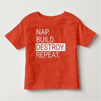 T-shirt Pour Les Tous Petits Petit somme. Construction. Détruisez. Répétez.