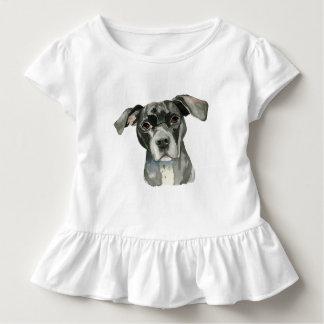 T-shirt Pour Les Tous Petits Portrait noir d'aquarelle de chien de pitbull