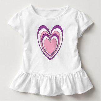 T-shirt Pour Les Tous Petits Rose pourpre et blanc en forme de coeur