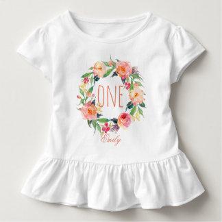 T-shirt Pour Les Tous Petits Un bébé an Wreath-2 floral d'anniversaire