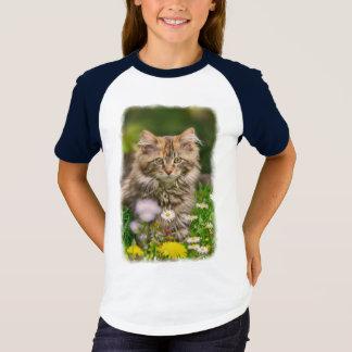 T-shirt Pré mignon de fleur de chat de chaton de ragondin