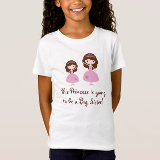 T-Shirt Princesse rose grande soeur - cheveux de Brown