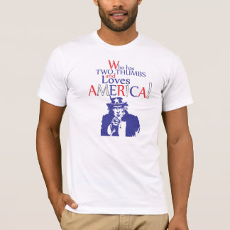 T-shirt Qui a deux pouces et aime l'Amérique