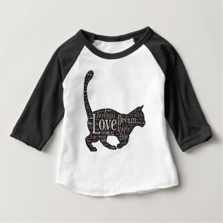 T-shirt raglan de bébé mignon avec le chat