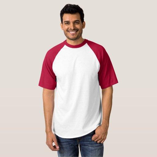 T-shirt de baseball raglan pour homme, Blanc/Rouge