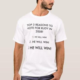 T-SHIRT RAISONS DU PRINCIPAL 3 DE VOTER POUR RUDY EN 2008