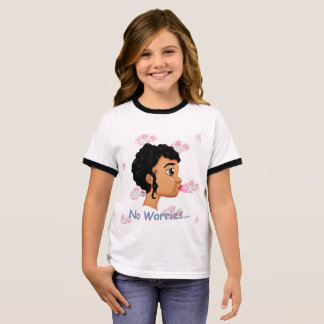 T-shirt Ras-de-cou Arrière - plan d'espace libre de fille de