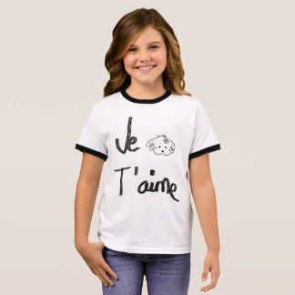 T-shirt Ras-de-cou Chemisette enfant, blanc et noir, le monde de Lua