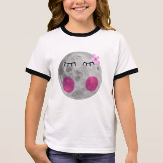 T-shirt Ras-de-cou Lune rose de rougissement
