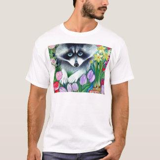 T-shirt Raton laveur et tulipes
