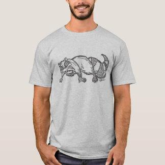 T-shirt Raton laveur stylisé (à l'encre noire)