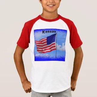 T-shirt rayé de douille de drapeau du Kansas USA