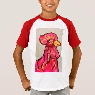 T-shirt rayé de V-Cou d'enfants avec le coq frais