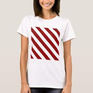 T-shirt Rayures de Diag - blanches et rouge foncé