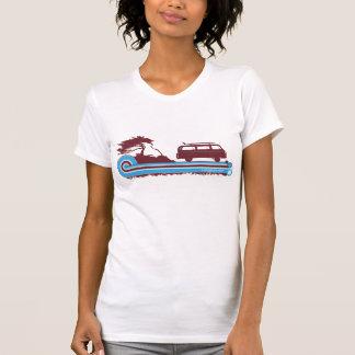 """T-shirt Rétro pièce en t de surf de """"Longboard"""" en rouge"""