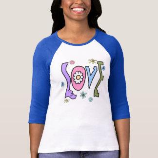 """T-shirt Rétro style 60s/70s : Raglan de """"amour"""" de flower"""