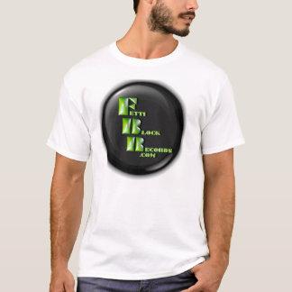 T-shirt rond de logo de disques de bloc de Fetti