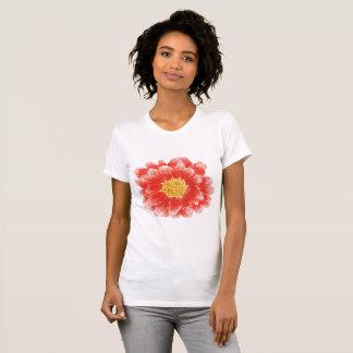 T-shirt rose de fleur du chrysanthème des femmes
