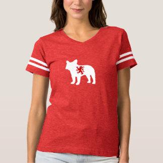 T-shirt rouge de lion de bouledogue français