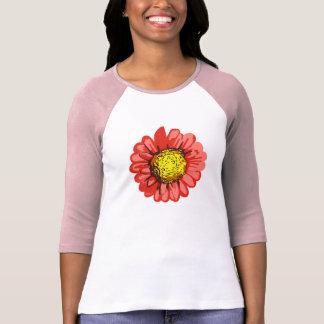 T-shirt rouge de raglan de dames d'art de