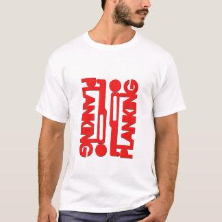 T-shirt rouge de silhouette de bloc de Planking