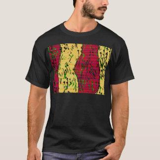 T-shirt Rouge foncé et art abstrait ocre