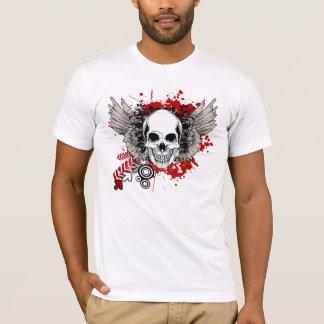 T-shirt rouge grunge de crâne