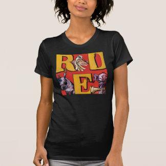 T-shirt ROUGE -- Rhinocéros, héron, chienchien