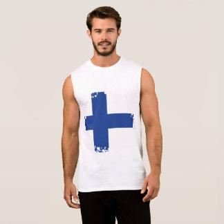 T-shirt Sans Manches Drapeau abstrait de la Finlande, couleurs