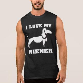 T-shirt Sans Manches J'aime mes propriétaires drôles de teckel de