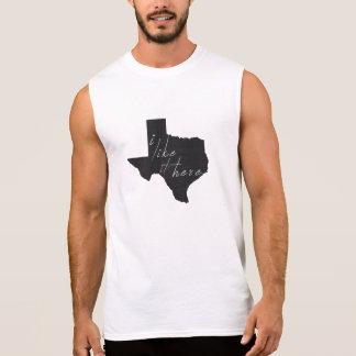 T-shirt Sans Manches Le Texas I l'aiment énoncent ici le noir de