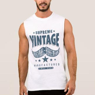 T-shirt Sans Manches Moustache vintage de hippie