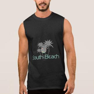 T-shirt Sans Manches Paumes grises et Sun de Miami de plage du sud
