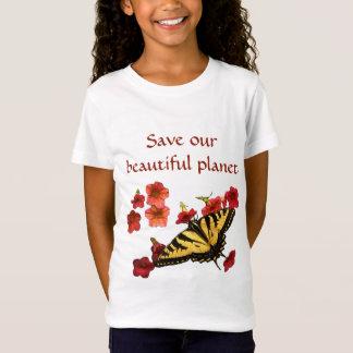 T-Shirt Sauvez notre papillon de jaune de planète sur les