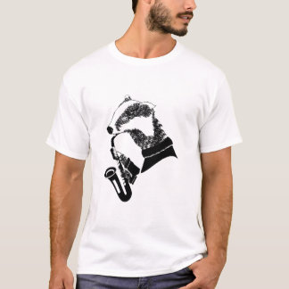T-shirt Saxophone de blaireau de musicien personnalisable