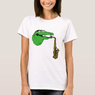 T-shirt SAXOPHONE de vitesse d'alligator aucuns mots
