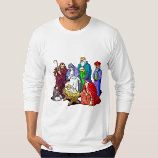 T-shirt Scène colorée de nativité de Noël