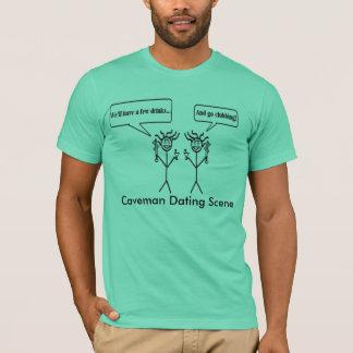T-shirt Scène de datation d'homme des cavernes
