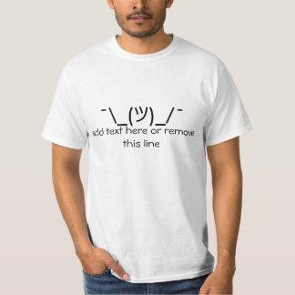 T-shirt Shrug des textes d'ASCII