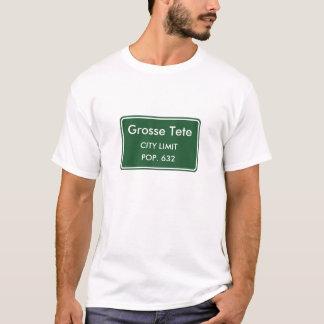 T-shirt Signe de limite de ville de Grosse Tete Louisiane