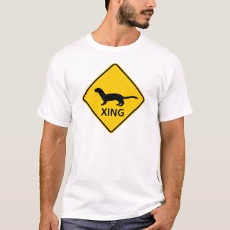 T-shirt Signe de route de croisement de belette/furet