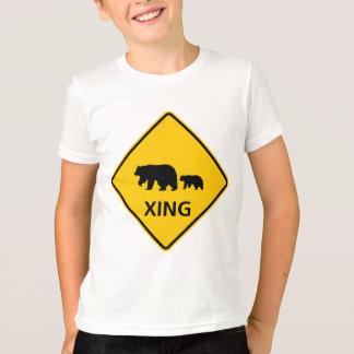 T-shirt Signe de route de croisement d'ours