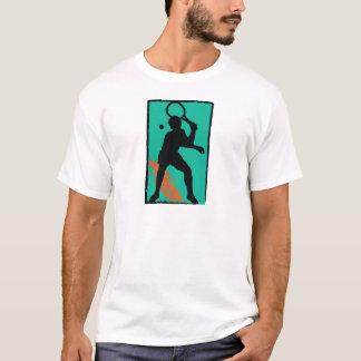 T-shirt Silhouette orange turquoise de tennis