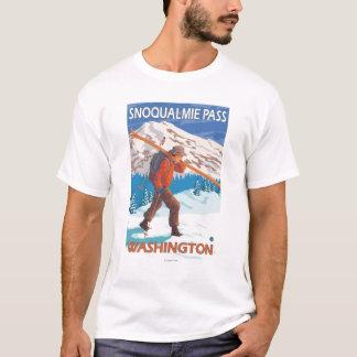 T-shirt Skis de transport de neige de skieur - passage de
