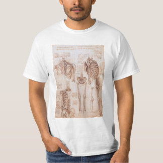 T-shirt Squelettes humains d'anatomie par Leonardo da