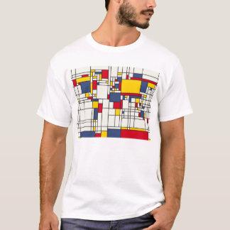 T-shirt Style de Mondrian d'abrégé sur carte du monde