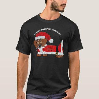 T-shirt Sucre de canne Père Noël de teckel
