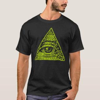 T-shirt Symbole de pyramide d'Illuminati d'oeil mauvais