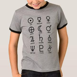 T-shirt Symboles de planète d'astronomie