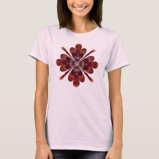 T-shirt T-shirt, fleur de zen, pêche foncée, rouge foncé,